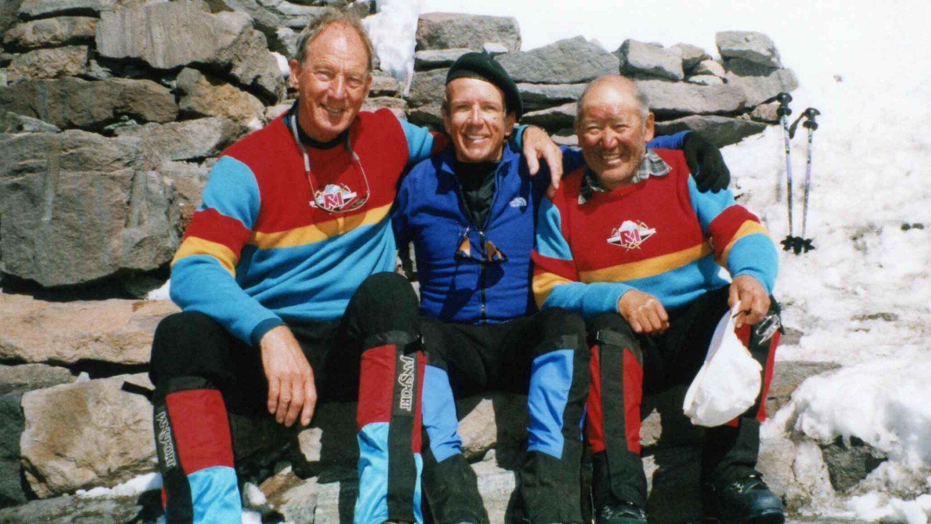 Michael Hodgson on Mount Rainier with Lou Whittaker and Nawang Gambu