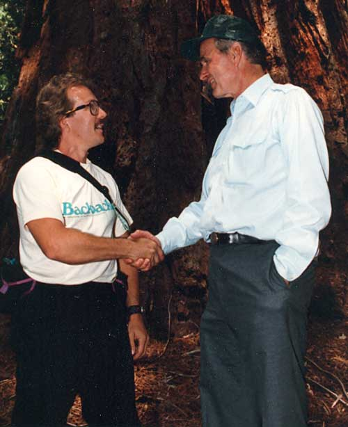 Michael Hodgson meets President Bush in Sequoia National Park during his hike with President Bush