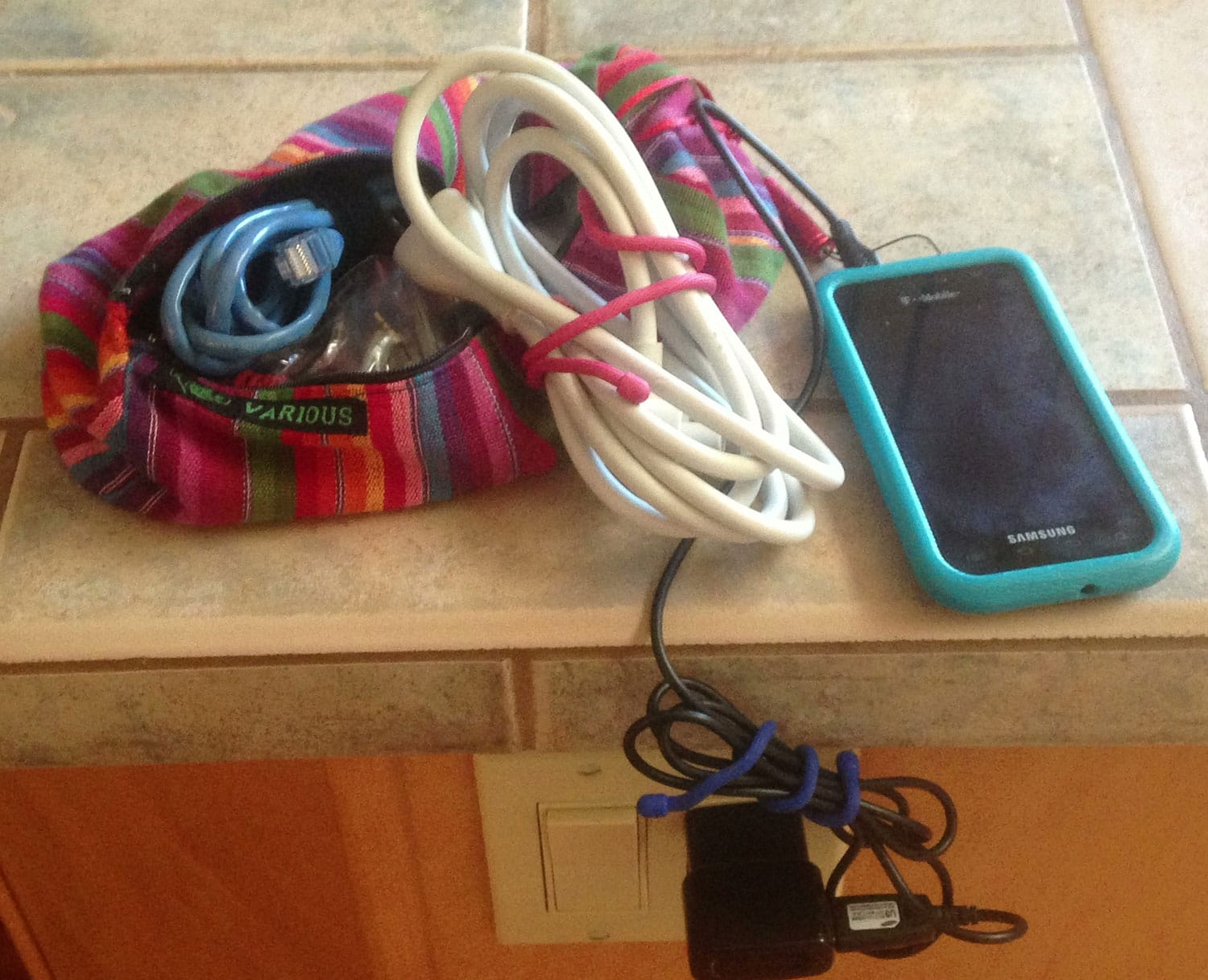 Nite Ize Gear Ties working to keep our myriad of cables and cords organized and under control.