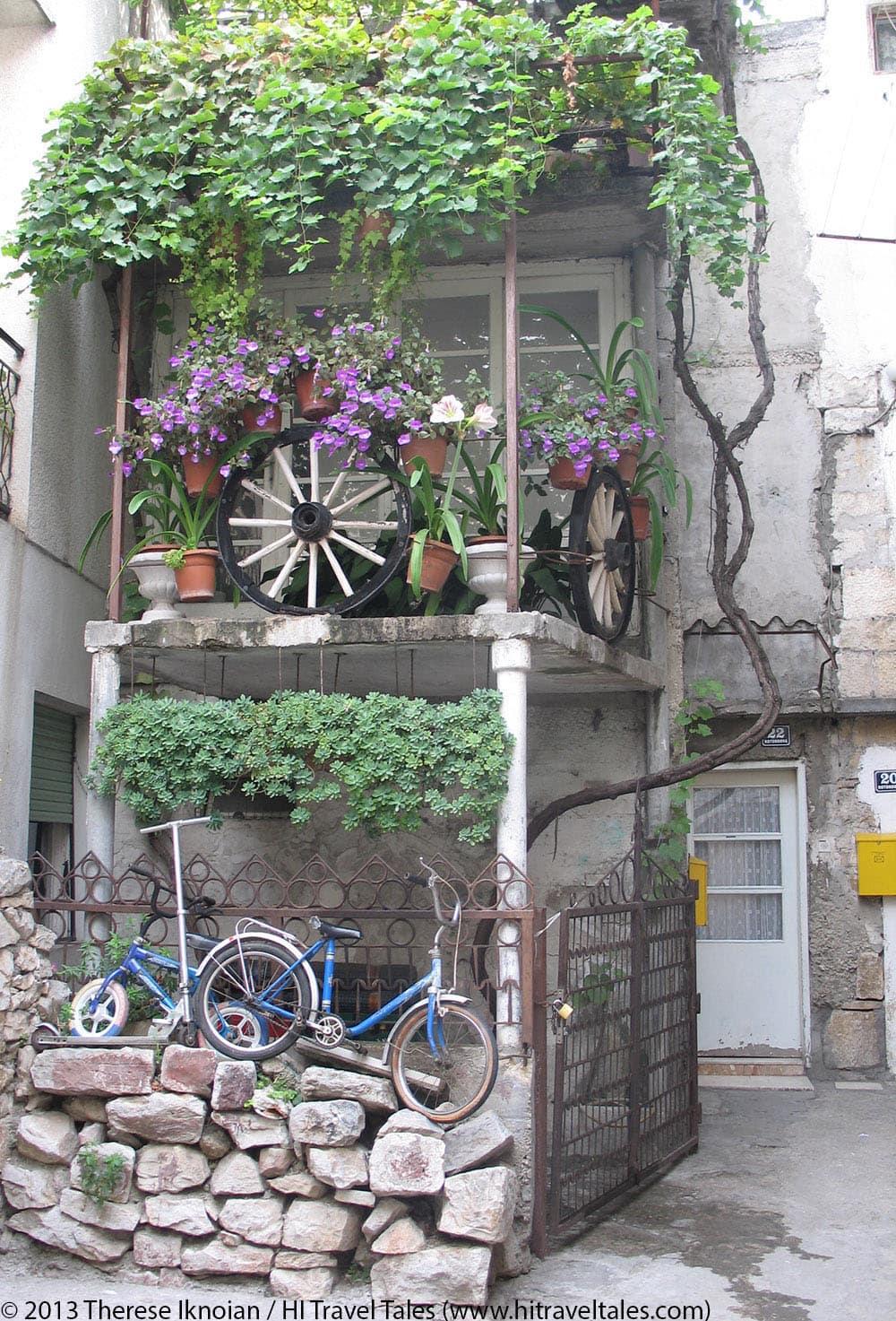 fun and funny photos - bikes outside a home in Croatia