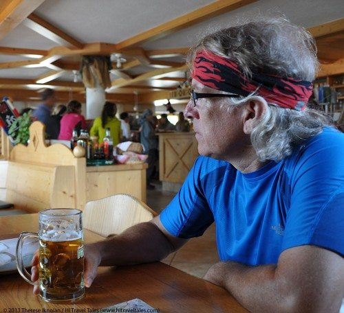 fun and funny photos of Michael nursing a beer in the Dolomites