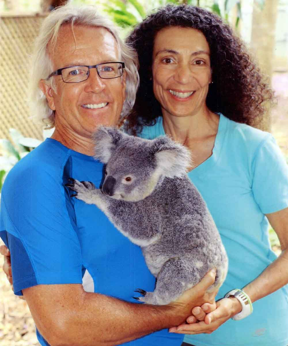 Michael and Therese cuddle with Lucy the koala at the Lone Pine Koala Sanctuary in Brisbane.