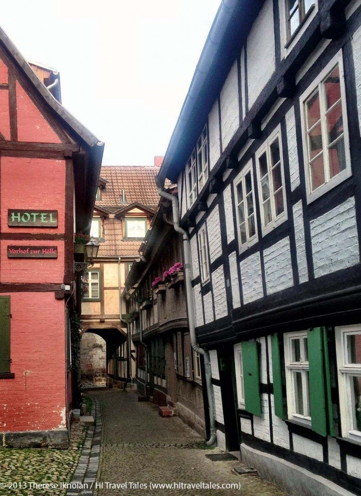 "Hotel ""Vorhof zur Hölle"" Quedlinburg -- yes, you can almost reach between walls in this street."