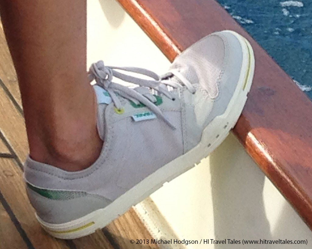 Staying sure-footed and comfyin the Teva Slimkosi aboard the sailing vessel Reality in New Caledonia.
