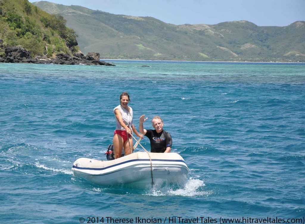 snorkeling in Fiji means riding a dingy.