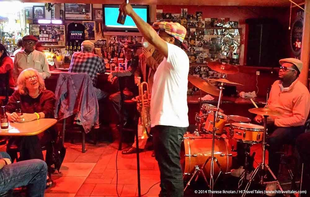 "Kermit Ruffins toasting the crowd and getting it into a ""We Partyin' Traditional Style!"" mood at Bullet's Sports Bar."