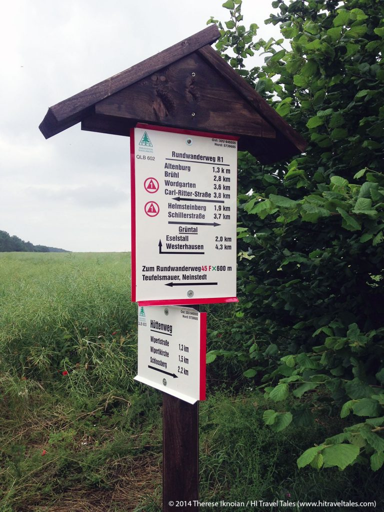 The signing for all walking paths, as you can see, is excellent in Germany. This one points the way to the Altenburg -- the Watch Tower.