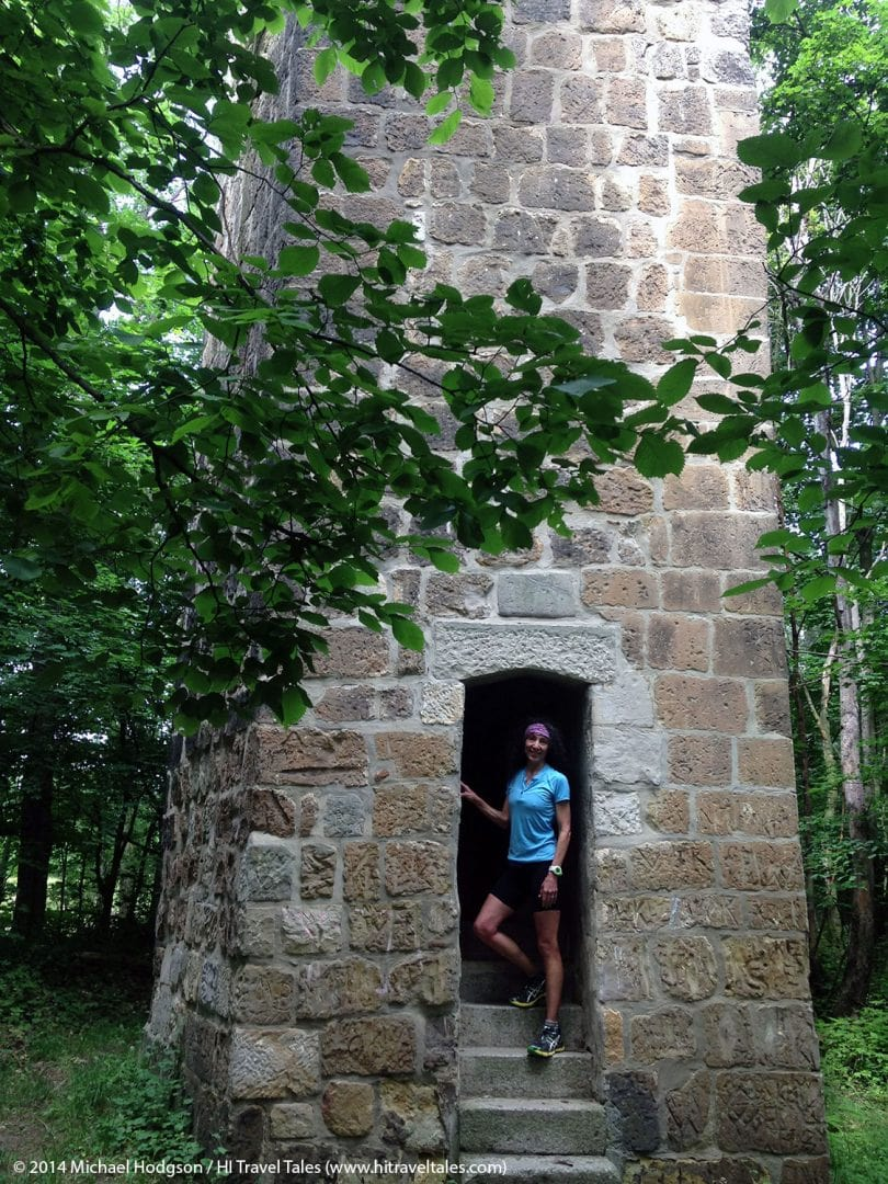 Therese Iknoian standing on the steps at the base of the Altenburgwarte -- Old Watch Tower.