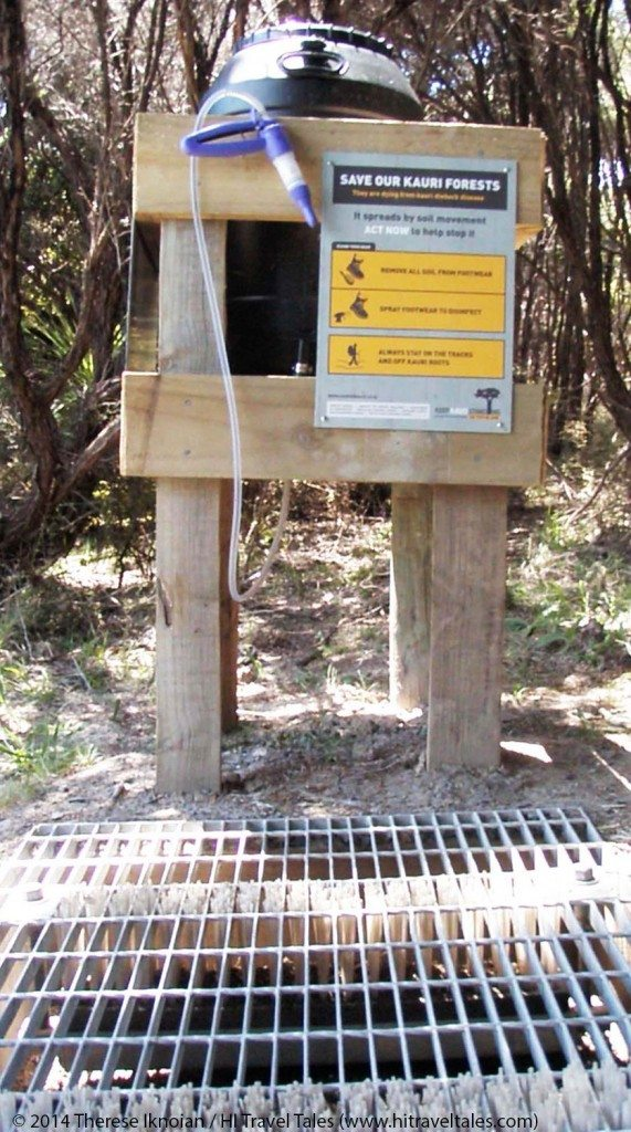 Shoe washing station in Tāwharanui Regional Park.
