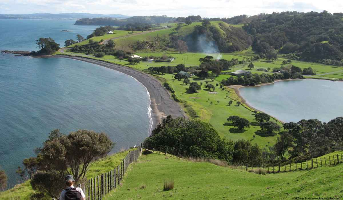 Tawharanui regional park coastal path through farmland.