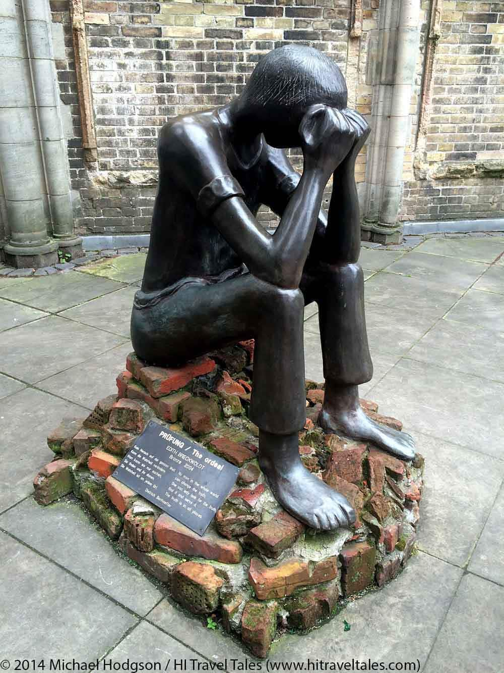 This sculpture at St Nikolai Kirche is dedicated to the memorial in Sandbostel where in one of the largest prisoner camps established by the Nazis more than 50,000 people from many countries had died until 1945. The base of this sculpture consists of the original bricks of the prisoners' barracks which Sandbostel pupils had collected on the former camp grounds.