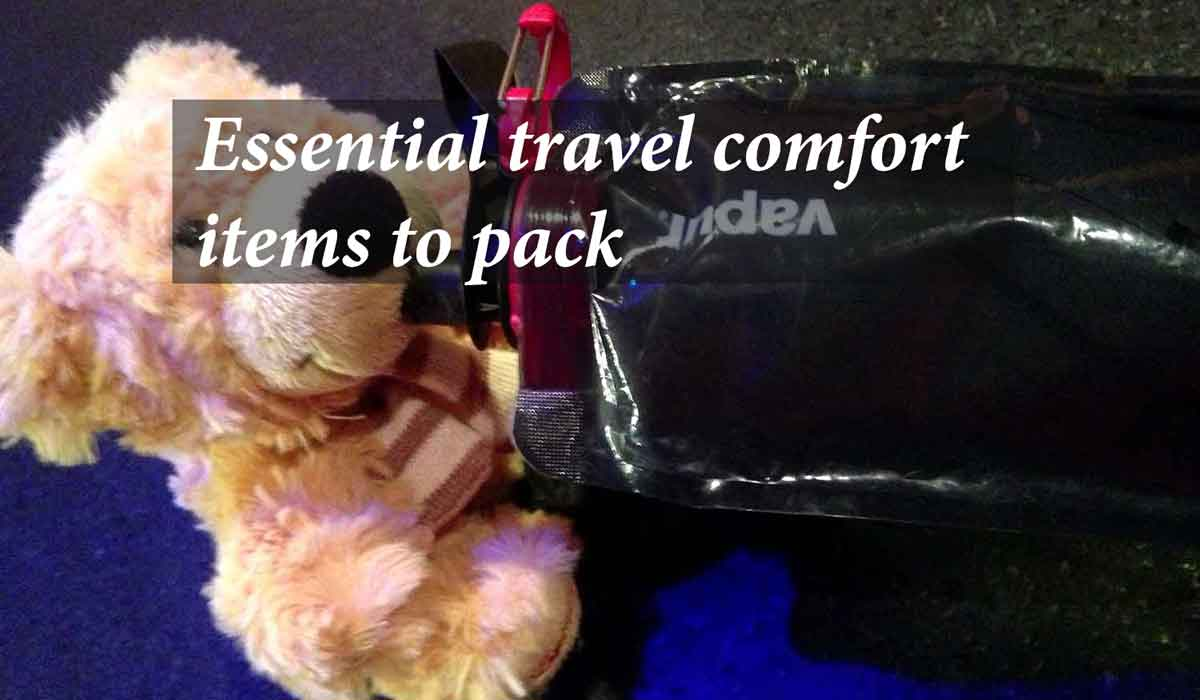 Essential travel comfort items to pack.