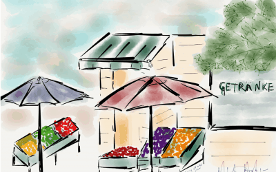 Artist's Diary – A colorful market near Cafe Anna Blume