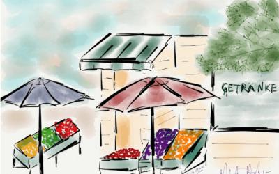 Artist's Diary – A colorful market near Cafe Anna Blume