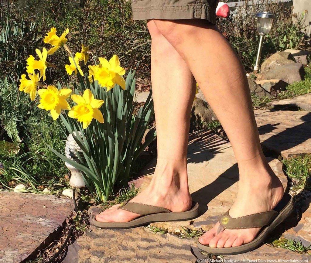 Bogs Hudson Leather Flip walking in garden