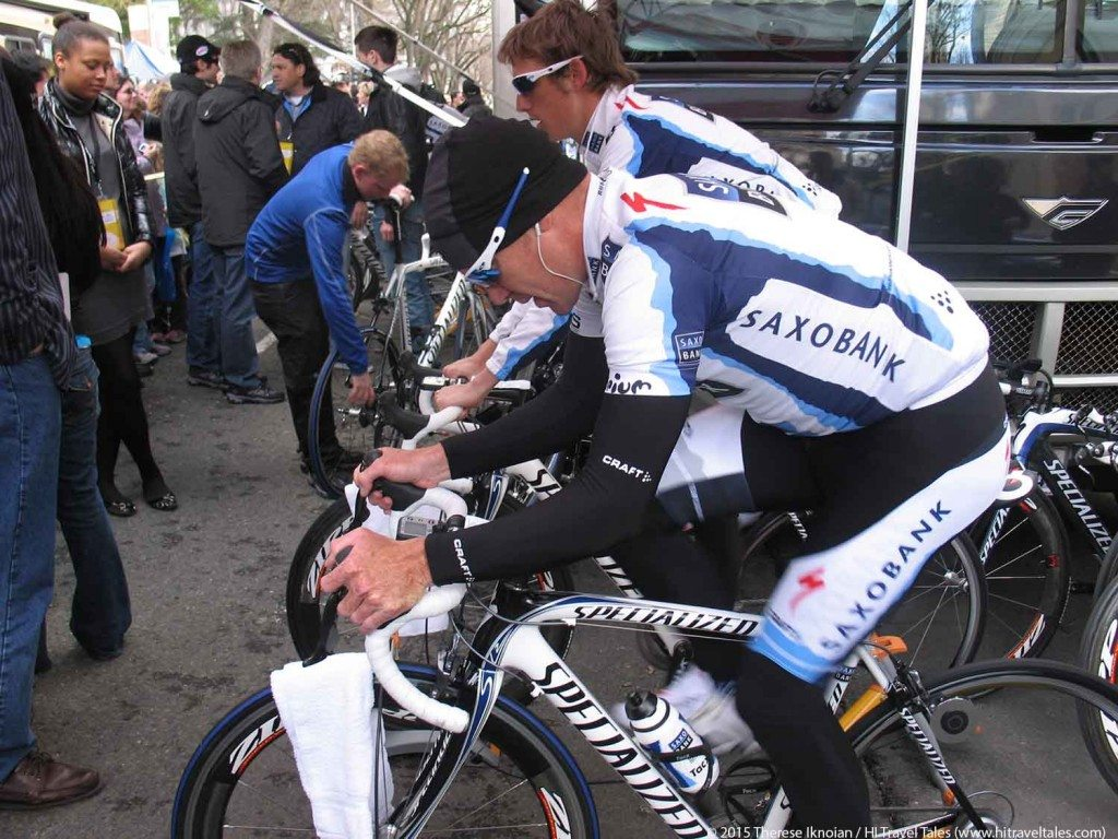 Amgen Tour of California athletes warming up