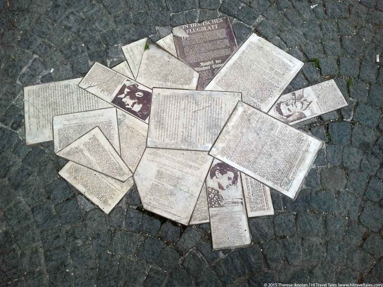 Sophie Scholl memorial with scattered papers