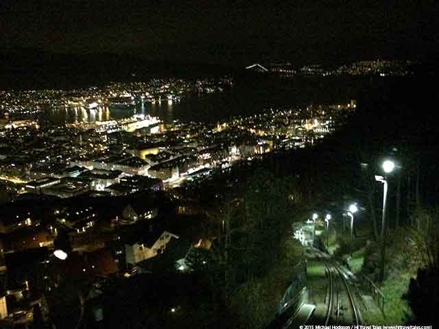 View of Bergen at night from the Funicular - Bergen travel essentials