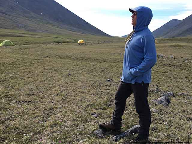 Happily wearing my insect repellent clothing -- ExOfficio Lumen Hoody and Cragghoppers pants
