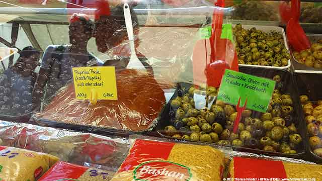 Turkish Market Berlin with Olives and Meat