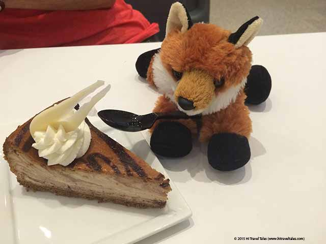 Fox Fury undercover eating cake at the Newseum in Washington DC