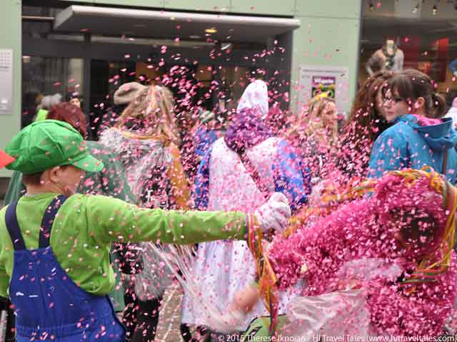 Carnival Parades Alstatten confetti pink fills the air