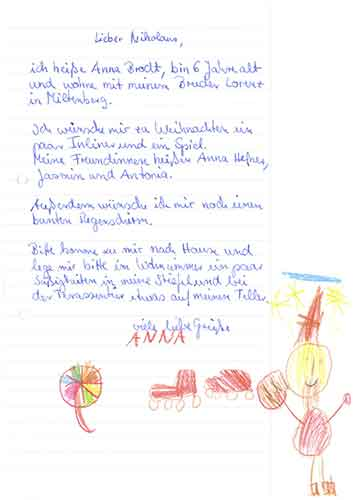 Letters to Santa copy of letter from Ana