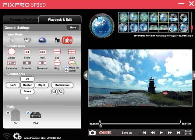 The Kodak Pixpro SP360 free desktop editing software