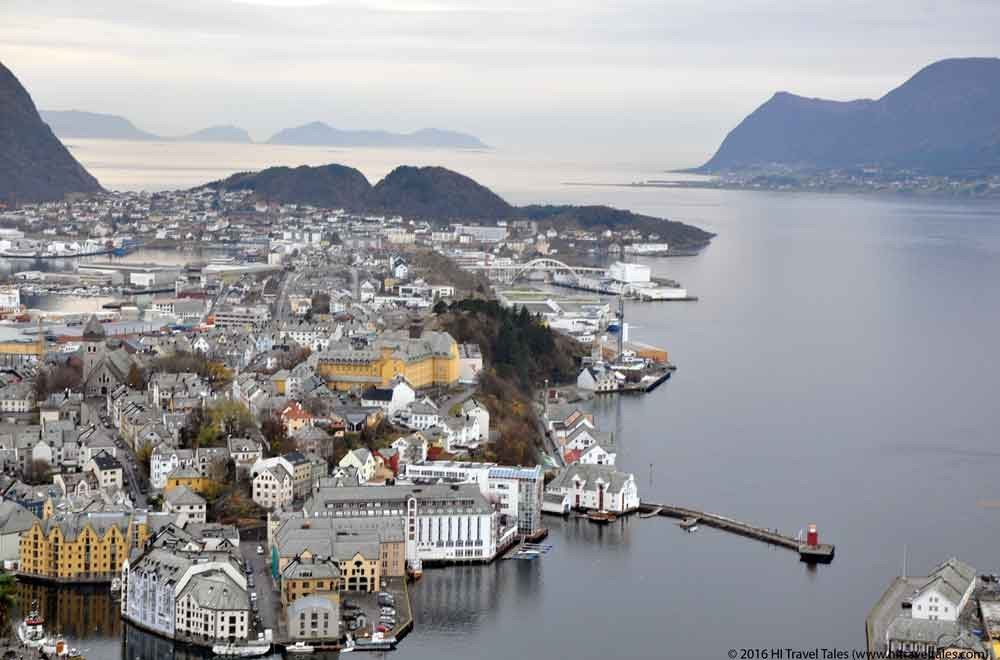 Fjellstua viewpoint in beautiful Alesund looking over the old city.