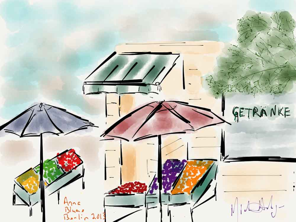 iPad art watercolor view from Anna Blume Cafe in Berlin