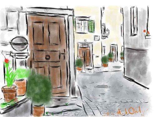 iPad watercolor of doors in Bregenz Austria