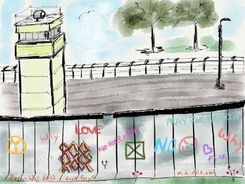 iPad watercolor of the Berlin wall