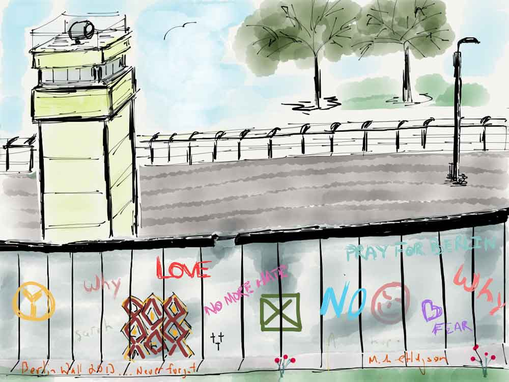 iPad watercolor of the Berlin wall