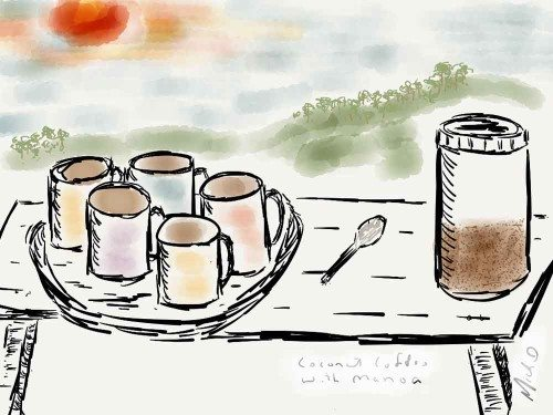 Being served coconut coffee in Fiji iPad watercolor