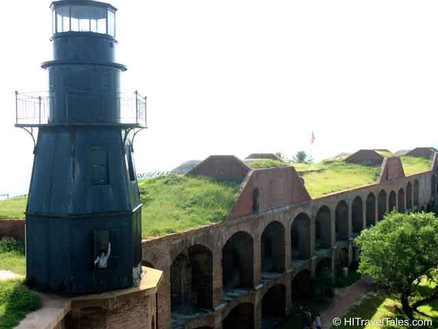 Therese waving from the light house at Fort Jefferson in the Dry Tortugas.