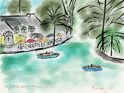 iPad watercolor in the Englischer Garten