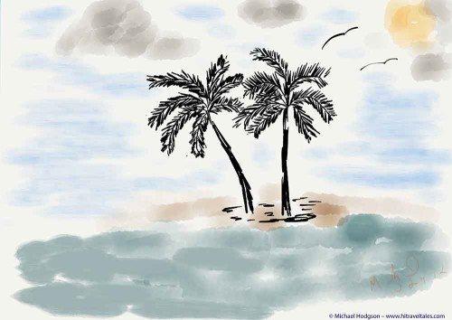 iPad watercolor of palm trees in Fiji