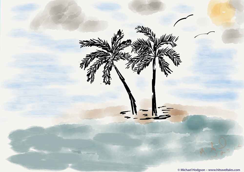 iPad watercolor of palm trees in Fiji