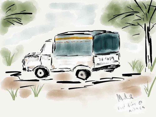 Flat tire on our truck near Abaca Fiji iPad watercolor