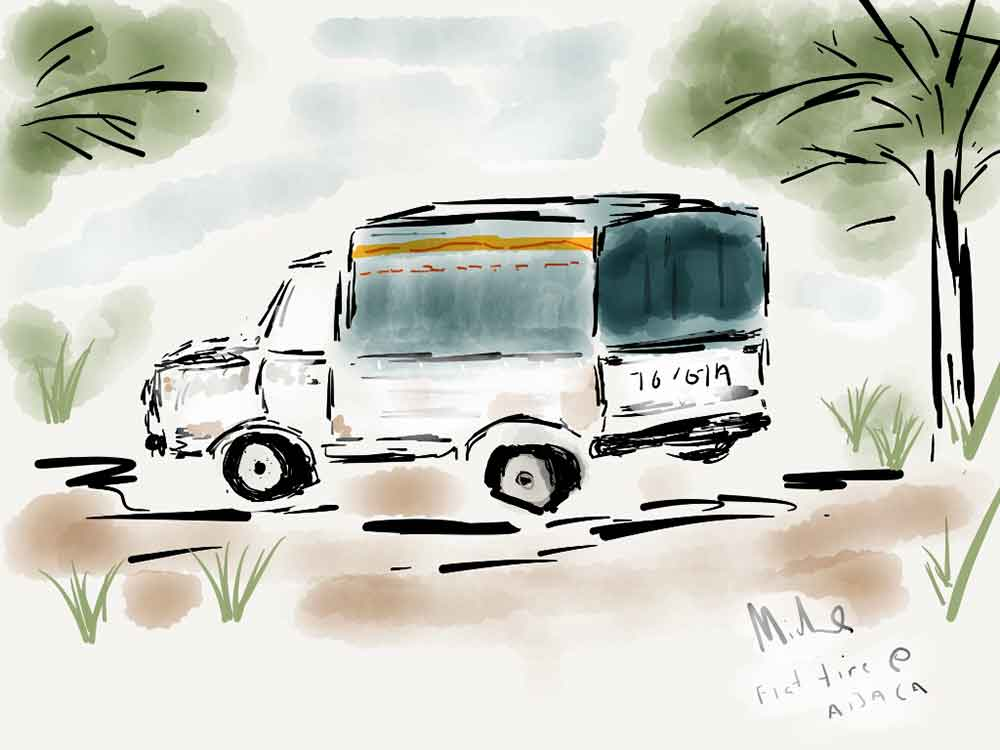 Flat tire on our truck near Abaca Fiji iPad watercolor