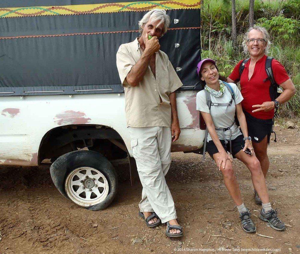 Flat tire, no problem for us returning from Koroyanitu
