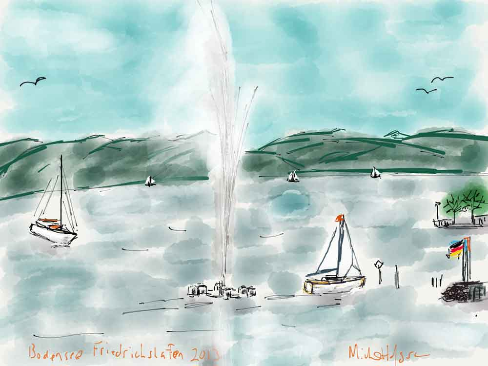 The Bodensee in Friedrichshafen fountain iPad watercolor