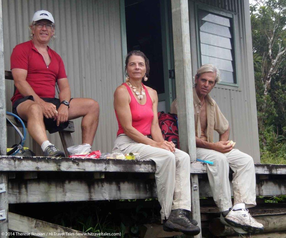 Sitting on the porch of Batilamu Hut in Koroyanitu National Park