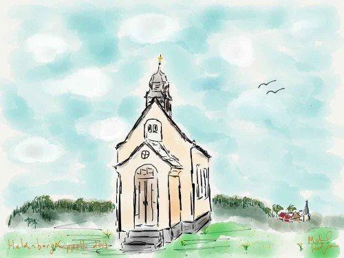 Lovely chapel in Friedrichshafen iPad watercolor