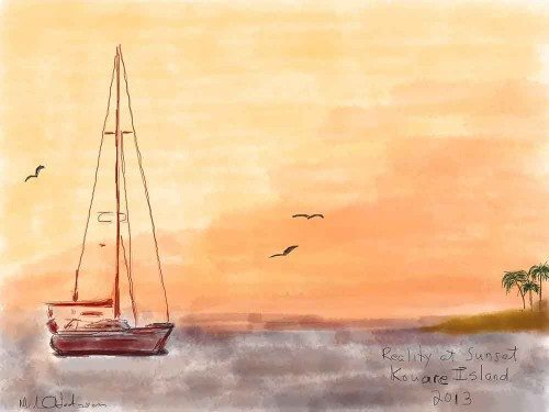 Sunset at Kouare Island New Caledonia iPad watercolor