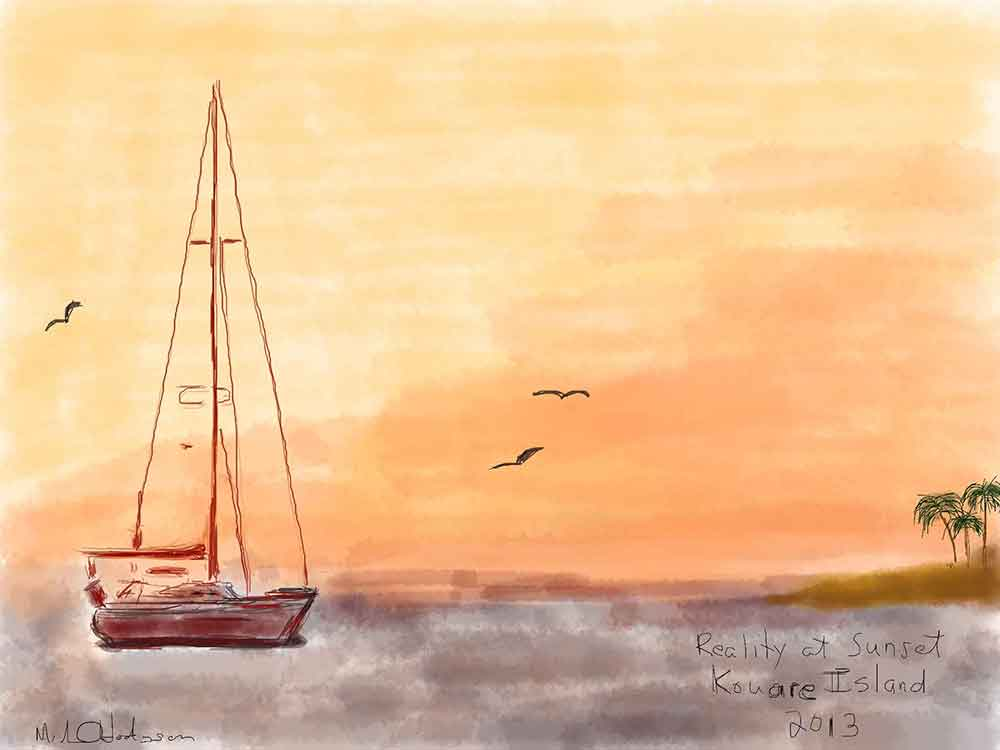 Sunset at Kouare Island New Caledonia iPad watercolor