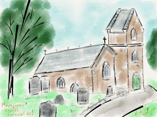 iPad watercolor of a church in Mevagissey