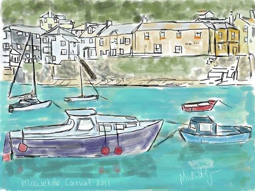 iPad watercolor of Mousehole Harbor