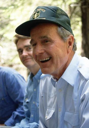 President Bush laughing during our campfire conversation.