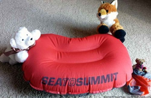 Sea to Summit Aeros pillow ultralight is compact, light and supremely comfy -- according to our stuffed animal family